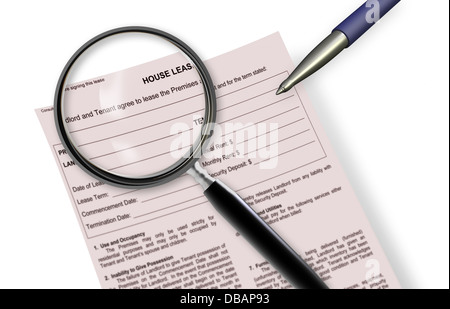 Close up of lease agreement empty document with pen on it - Stock Photo
