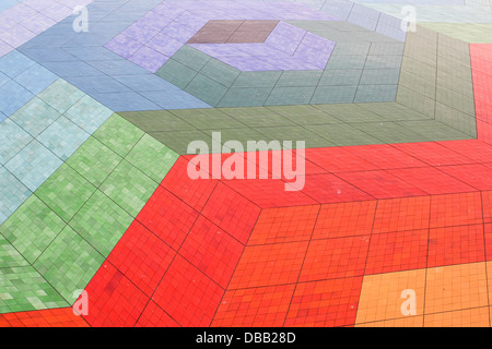 Colorful floor tiles with an extraordinary design - Stock Photo