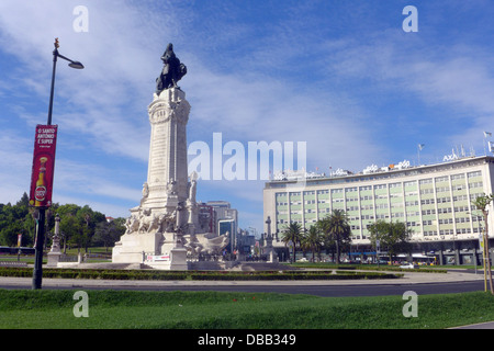 Marques de Pombal statue in the traffic circle of the same name at the top of the Avenida da Liberdade in Lisbon - Stock Photo