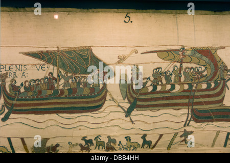 France Normandy, Bayeux, Tapestry panel 5 'Duke Harold sails to France' - Stock Photo