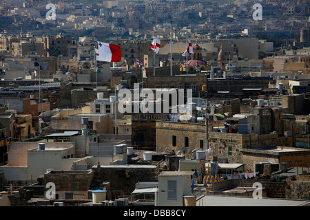 View from the Citadella also known as the Castello the citadel of Victoria on the island of Gozo, the sister island - Stock Photo