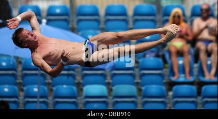 Barcelona, Spain. 27th July, 2013. Sergey Nazin of Russia in action during the men's 10m platform diving semifinals - Stock Photo