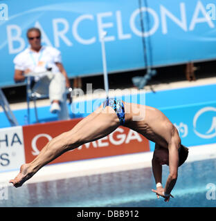 Barcelona, Spain. 27th July, 2013. Victor Minibaev of Russia in action during the men's 10m platform diving semifinals - Stock Photo