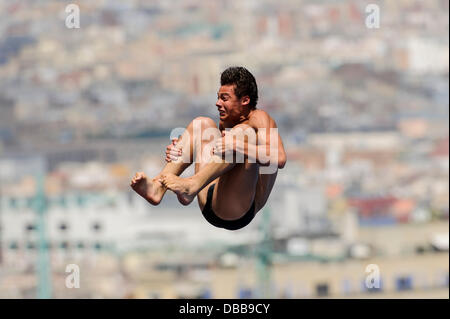 Barcelona, Spain. 27th July, 2013. Andrea Chiarabini of Italy (ITA) in action during the Mens 10m Platform Diving - Stock Photo