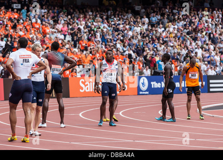London, UK. 27th July, 2013. 4x100m mens relay in the Olympic Stadium, Anniversary Games British Athletics in London. - Stock Photo