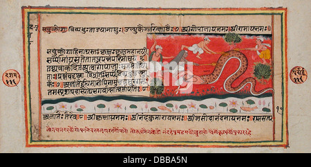 The Python Swallows Nanda (Recto), Singeing of the Python (Verso), Folio from a Bhagavata Purana (Ancient Stories - Stock Photo