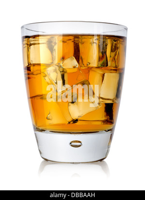Brandy glass with brandy and ice isolated on a white background - Stock Photo