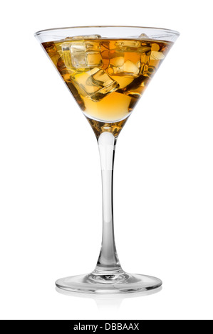 Brandy with ice in a glass isolated on a white background - Stock Photo