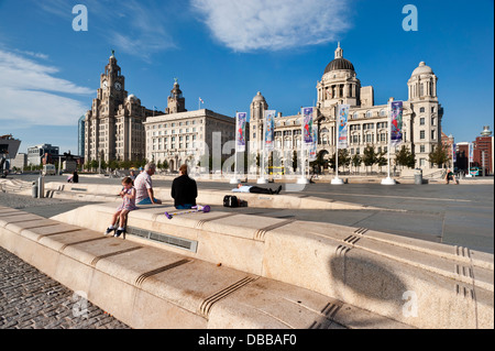 Evening at Pier Head with the Three Graces (Royal Liver Building, Cunard Building, Port Of Liverpool Building), - Stock Photo