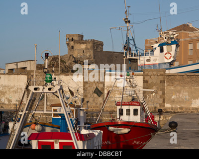 Fishing boats at the harbour in the port of Tarifa, Andalucia, Spain - Stock Photo