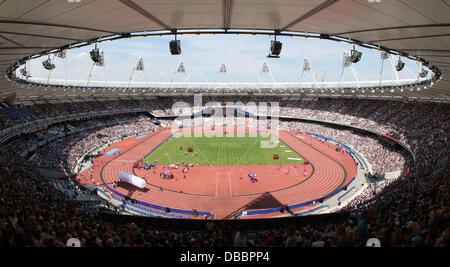 London, UK. 27th July, 2013. View of the Stadium during the IAAF Diamond League Anniversary Games from the The Olympic - Stock Photo