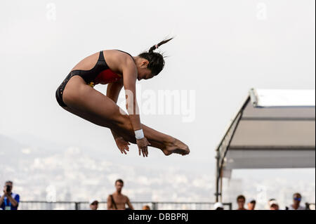 Barcelona, Spain. 27th July 2013: China's Wang Han competes the women's 3m Springboard Final at the 15th FINA World - Stock Photo