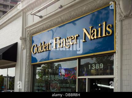 golden finger nails - Stock Photo