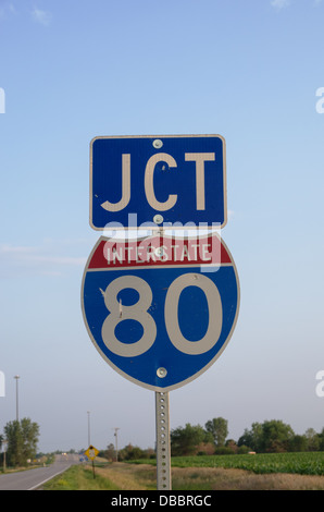Interstate 80 junction sign in rural farmland - Stock Photo