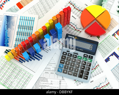 Business concept. Three-dimensional graph and charts. 3d - Stock Photo