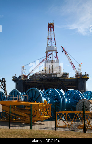 Sedco 712 Rig owned by Transocean Inc. a Semisub drilling rig at Invergordon, Cromarty Firth, Scotland, UK