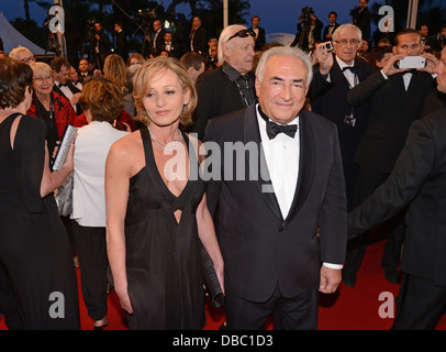 Former IMF chief Dominique Strauss-Kahn and his girlfriend Myriam L'Aouffir during the 2013 Cannes film festival. - Stock Photo