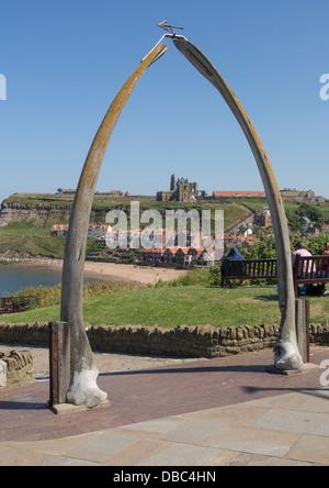 View through whalebone arch to St. Marys Parish Church Whitby Yorkshire UK - Stock Photo