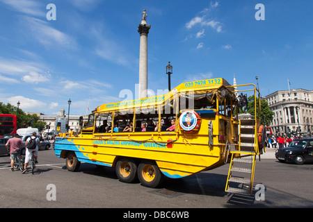 A London Duck Tours amphibious vehicle in Trafalgar Square, London, U.K. - Stock Photo