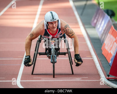 David Weir wins the T54 Mile at the Sainsbury's International Para Challenge at the Olympic Stadium, London on July - Stock Photo