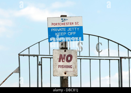 No fishing sign at Portchester sailing club - Stock Photo