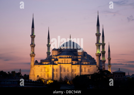 The Blue Mosque in Istanbul at dusk - Stock Photo