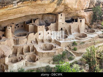 Cliff Palace, ancient Anasazi pueblo dwellings, Mesa Verde National Park, Cortez, Colorado, USA - Stock Photo