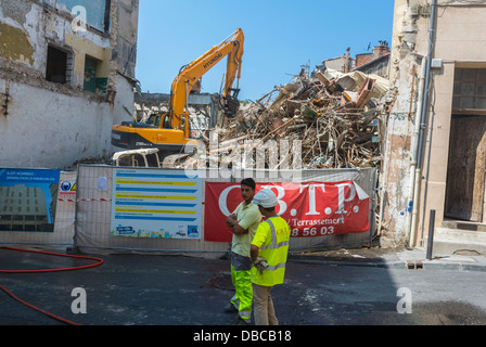 Marseille, France, Construction Site, Crew Demotion in Center City, Near Train Station - Stock Photo