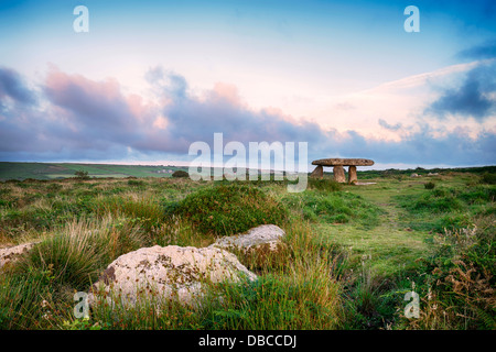 Lanyon Quoit near Madron on the Lands End Peninsula in Cornwall - Stock Photo