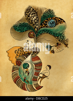 Illustration of peacock design against colored background - Stock Photo
