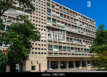 Marseille, France, Outside, Front, Modern Architecture, Apartment Building & Hotel, by Architect: Le Corbusier, - Stock Photo