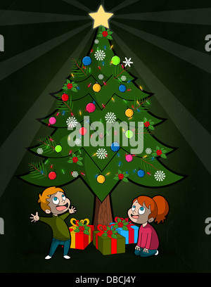 Illustration of happy children looking at Christmas tree - Stock Photo