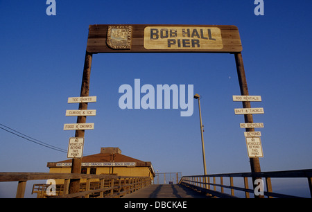 The Bob Hall public fishing pier near Corpus Christi Texas on North Padre Island - Stock Photo