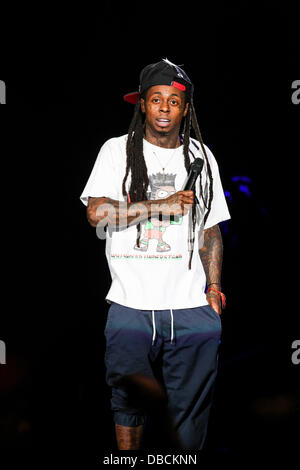 North Carolina, USA, 27th July, 2013:  Hip Hop Artist Lil Wayne performs in North Carolina Credit:  Andy Martin - Stock Photo