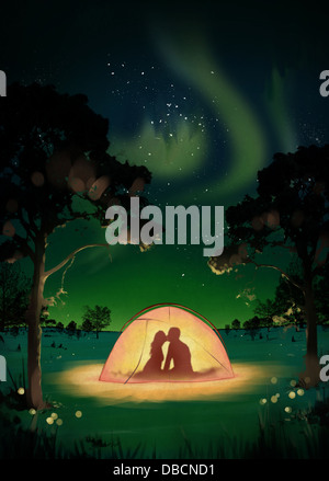 Illustration of couple kissing in tent at dawn - Stock Photo