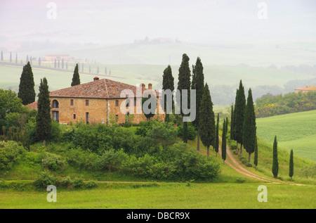 Toskana Haus im Nebel - Tuscany house in fog 06 - Stock Photo