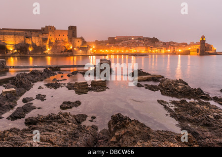 Chateau Royal and Eglise Notre Dame des Anges, Collioure, Pyrénées-Orientales, Languedoc-Roussillon, France - Stock Photo