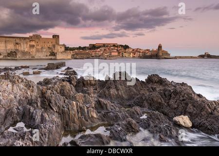 Chateau Royal and Eglise Notre Dame des Anges, Collioure, Pyrénées-Orientales, Languedoc-Roussillon, France - Stock Photo