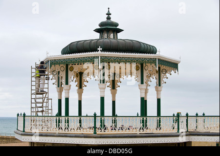 Victorian bandstand being repainted on the seafront at Brighton East Sussex England UK - Stock Photo