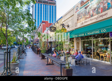 Sidewalk cafe on N 8th Street in the early evening, historic downtown Boise, Idaho, USA - Stock Photo