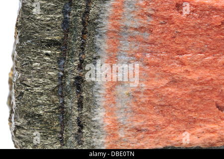 Banded Barian Celestine (strontium sulphate) and iron pyrite - Stock Photo