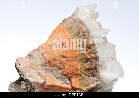 Banded Barian Celestine (strontium sulphate), sphalerite and calcite crystals - Stock Photo