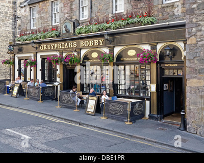 Greyfriars Bobby's Bar in Candlemaker Row Edinburgh Scotland - Stock Photo