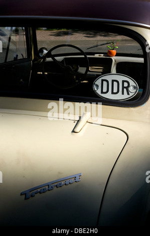 Historic Trabant automobile with DDR sign in rear window, Germany, Europe. - Stock Photo