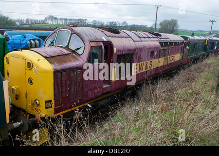 Scrapped Diesel locomotives waiting for restoration at the Barrow Hill Engine Shed, Chesterfield, Derbyshire - Stock Photo