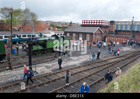 Gresley N2 0-6-2T Tank Engine 1744 in steam at the Barrow Hill Engine Shed, Chesterfield, Derbyshire - Stock Photo