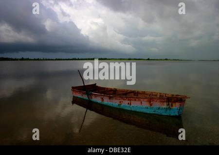 pink lake - Lac Retba - Senegal. - Stock Photo