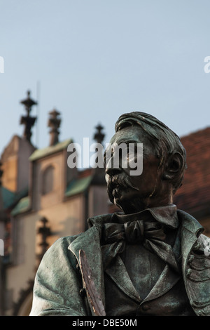 Aleksander Fredro bronze statue in the Old Town in Wrocław Poland - Stock Photo
