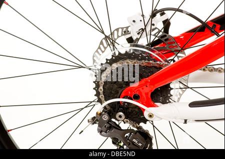 Close up of rear wheel of mountain bike - Stock Photo