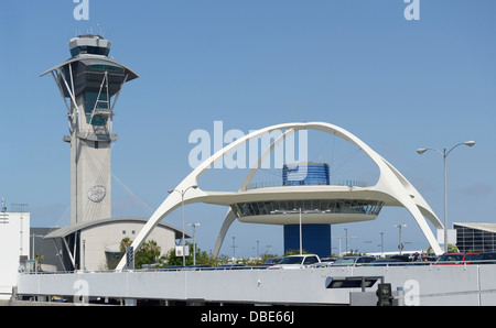 Los Angeles International Airport with control tower and Theme Building - Stock Photo